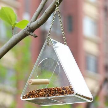 Bird Feeder Plastic Hanging Bird Food Container Transparent Outdoor Parrot Feeder Waterproof Bird Feeder Pet Supplies