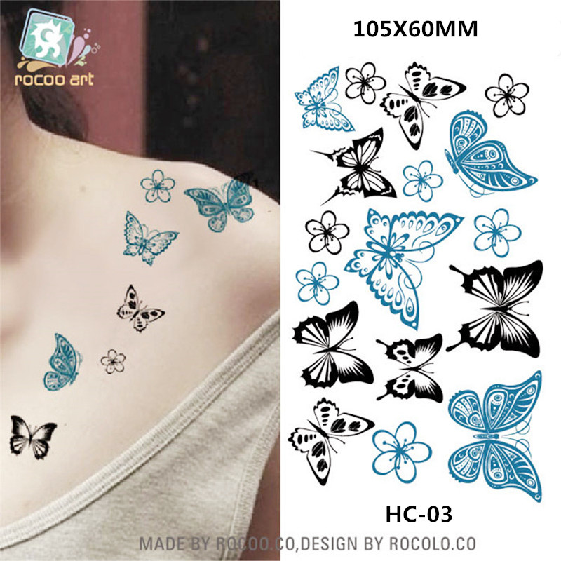 Body Art Waterproof Temporary Tattoos For Men And Women Sexy 3d Butterfly Design Small Tattoo Sticker Wholesale HC1003