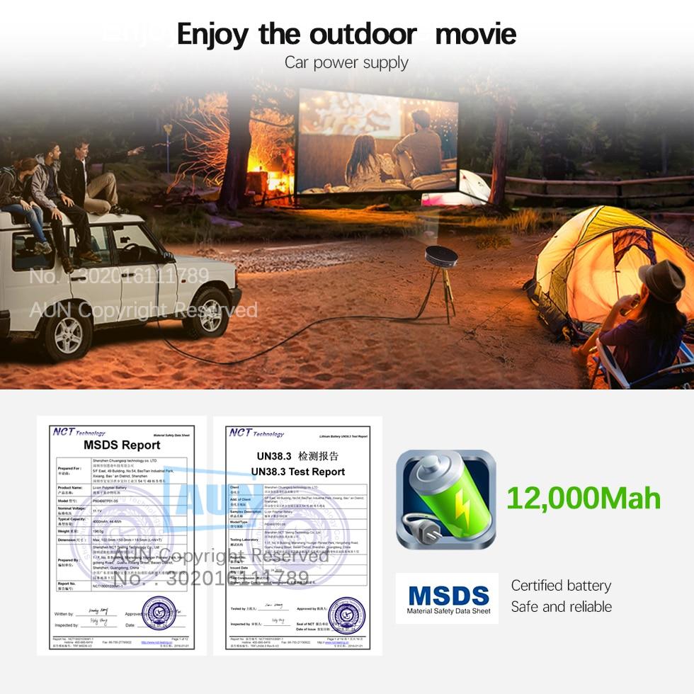 AUN 300 pouces Projecteur, 2G + 16G, 12000 batterie mah, 1280x720 P, d8S Android WIFI. Portable 3D mini projecteur led. soutien 1080 P 4 K - 5