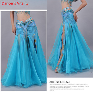 Image 5 - For Women Snow Yarn Skirt For Dance Tribal Ats Costumes For Belly Dancing Competition Long Skirts For Women Free Shipping