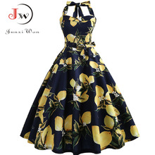 Women Summer Elegant Halter Sexy Party Dress Casual Floral Print Vintage Swing 50s 60s Retro Rockabilly Dresses Plus Size jurken
