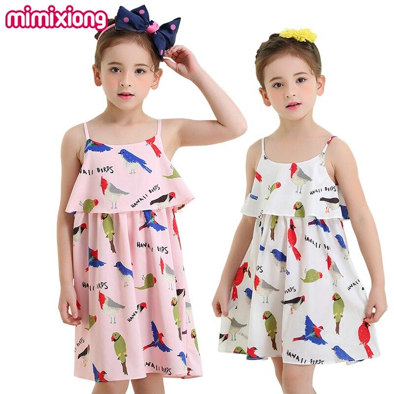 Toddler Girls Braces Dress Casual White Summer Kids Holiday Stripe Dress Pink HAWALL Bird Print Korean Child Beach Mini Sundress
