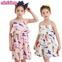 Toddler Kız Braces Elbise Rahat Beyaz Yaz Çocuklar Tatil Şerit Elbise Pembe HAWALL Kuş Baskı Kore Çocuk Plaj Mini Sundress