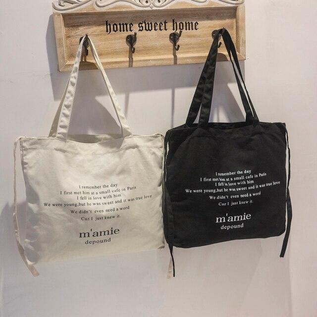 2018 Fashion Portable Women Bag Ladies Canvas Handbags Summer Casual Tote  Letter Bag Big Shopping Shoulder 6782e96c5a146