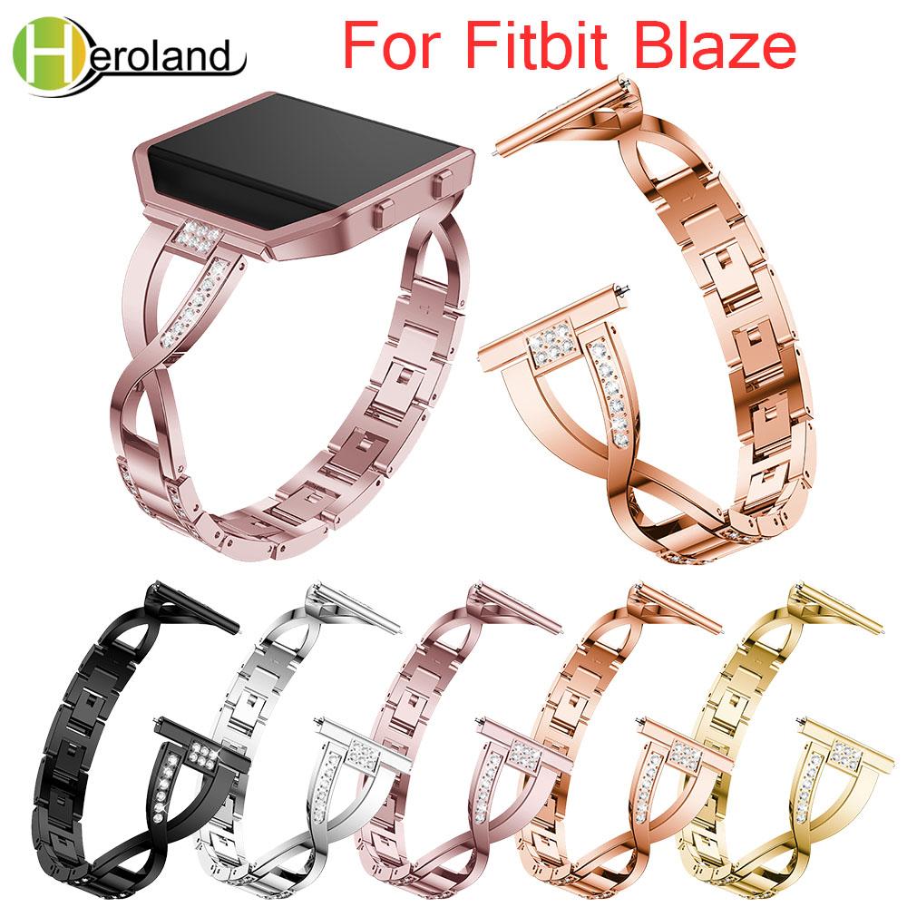 Crystal Metal WatchBand For Fitbit Blaze Smart Watch Band Wrist Strap For Fitbit Blaze Bracelet With Rhinestone Stainless Steel
