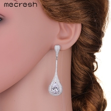 Glitter Water-Drop Cubic Zirconia Long Drop Earings