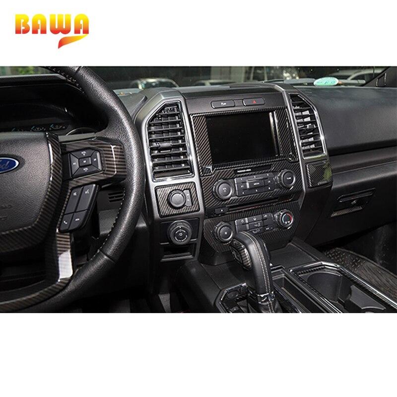 Moulures intérieures BAWA pour Ford F150 2015 + autocollants de décoration intérieure en Fiber de carbone - 3