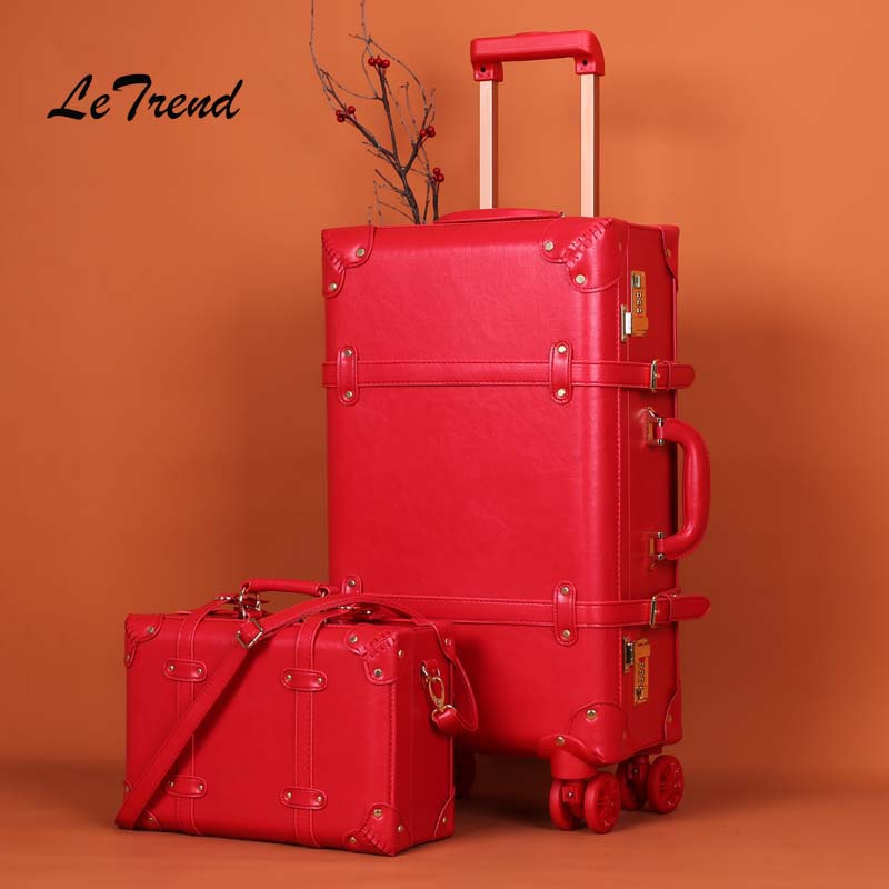 цена Letrend Big red wedding Suitcase Wheels Rolling Luggage Set Password Trolley Spinner Travel Bag Women 20 inch Carry On Trunk