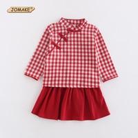JOMAKE Girls Dress Set New Chinese Style Plaid Long Sleeve T Shirt Tutu Skirt Girls Clothing