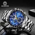 OCHSTIN Quarzuhr Männer Reloj Hombre Edelstahl Band Herren Uhren Top Brand Luxus Wasserdicht Silber blau Armbanduhr 2019