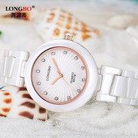 LONGBO Fashion Fashion Watch Dial Watch True CERAMIC STAMP Quartz Waterproof Ladies Watch 6077