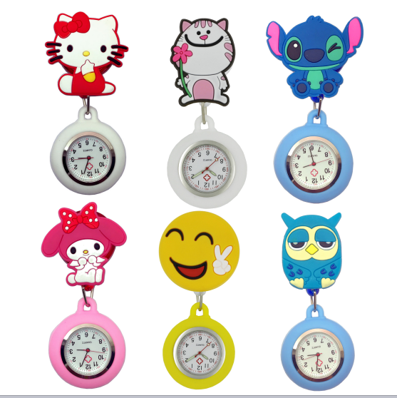 Fashion lovely cartoon animal design scalable soft rubber nurse pocket watches l