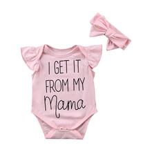 2PCS/Set Newborn Baby Girl Ruffles Sleeve Letter Print Cotton Romper