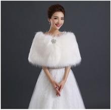 fur wedding capes crystal bride wrap faux evening bolero