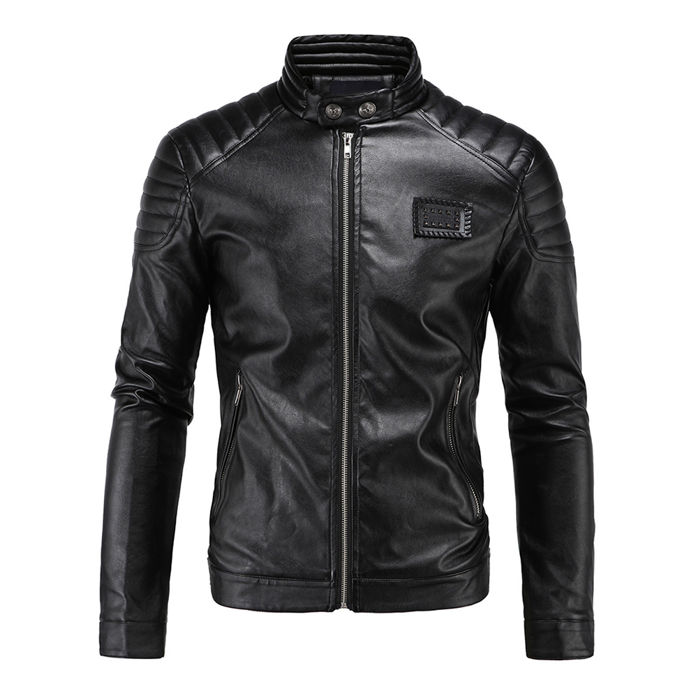 Herobiker Vintage Retro Motorcycle Jackets Men Casual PU Leather Jacket Biker Punk Classical Faux Leather Windproof Moto Jacket oblique zipper faux leather biker jacket