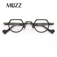 MUZZ Pure Titanium Frames New Men's Optical Irregular Small full rim Eyeglasses Frame high myopia Prescription Clear Lens Glasse