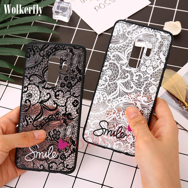 Relief Lace Case For Samsung Galaxy S8 S9 A8 A6 Plus J8 2018 A3 A5 A7 J3 J5 Prime J7 2017 S6 S7 Edge On Note 9 8 Love Smile Case