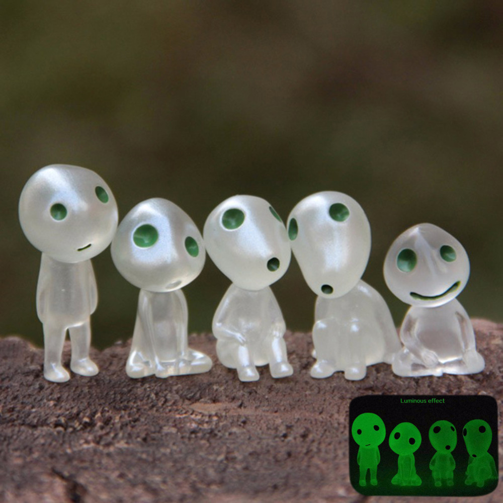 Princess Mononoke Luminous Elves Tree Doll Elf Posture Figurines Cartoon <font><b>Alien</b></font> Small Cute Kodamas Toys Spirit image