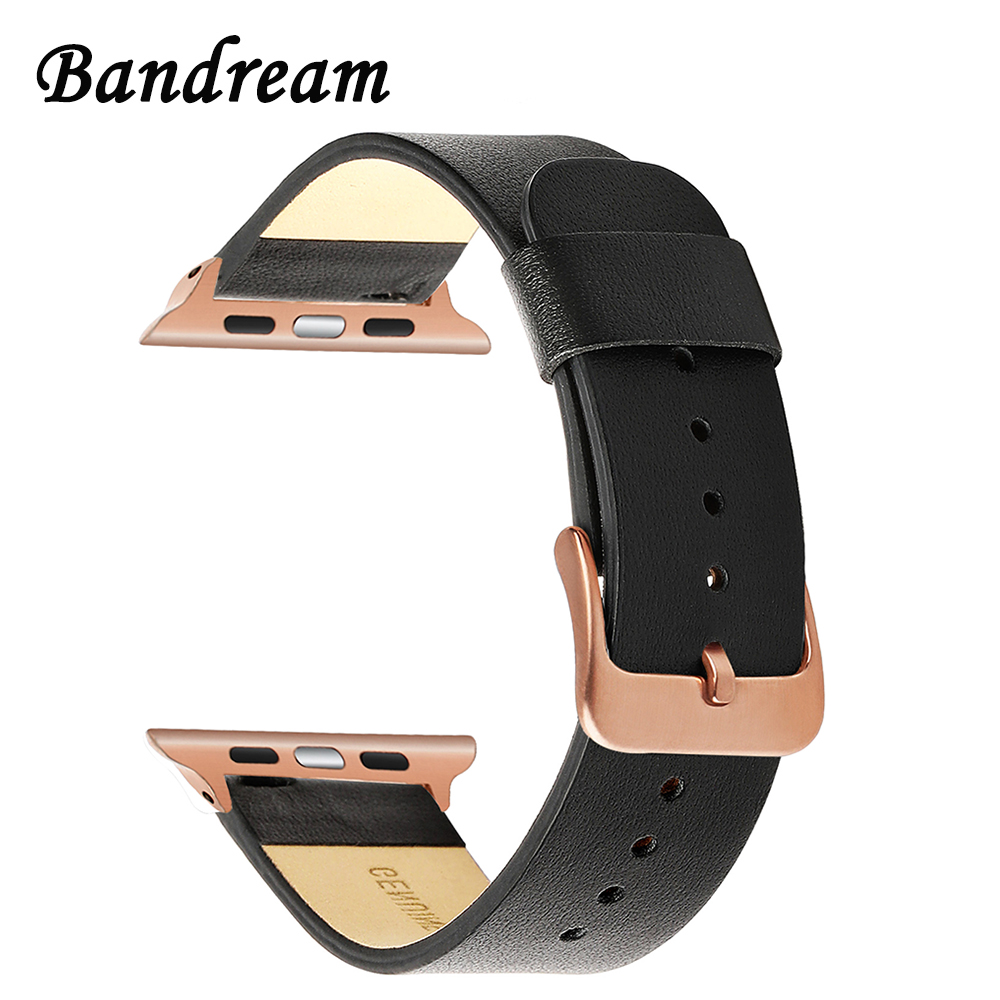 Genuine Cowhide Leather Watchband for iWatch Apple Watch 38mm 40mm 42mm 44mm Series 4 3 2 1 Band Steel Clasp Strap Wristband cowhide genuine leather strap watch band for apple watch iwatch series 1 series 2 38mm 42mm wristband replacement with adapter