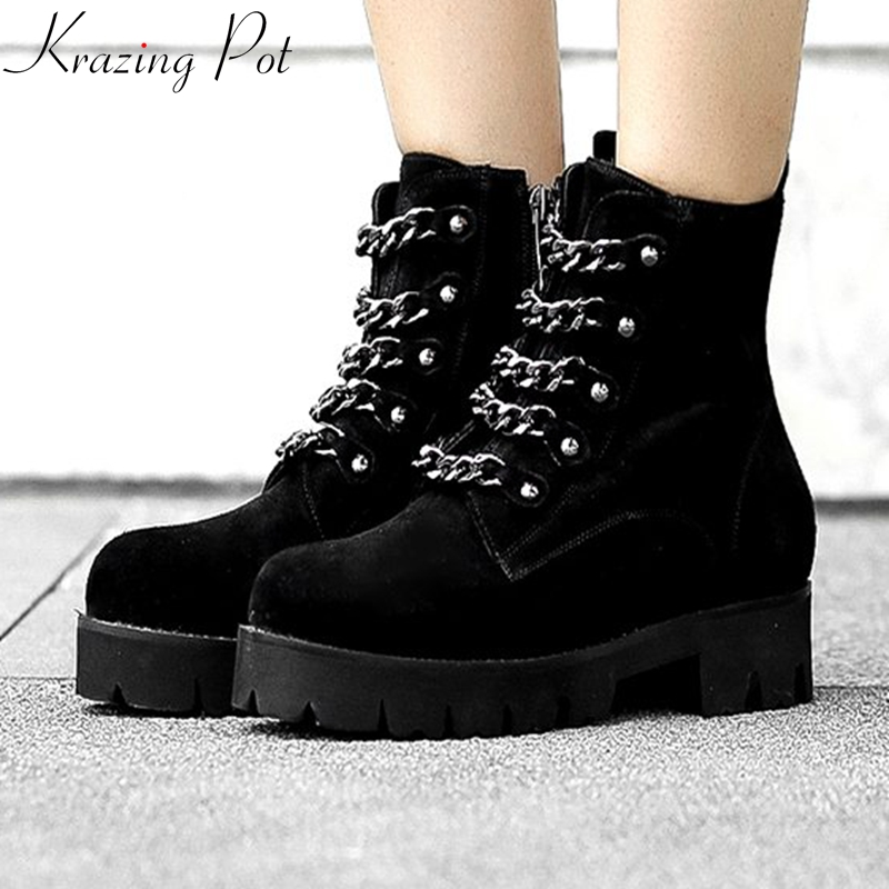 Krazing Pot new arrival 2018 cow suede boots western cowboy pointed toe med heels zipper metal chains decoration ankle boots L03 krazing pot 2018 new arrival sheep suede thick med heels women hollow decoration pumps buckle poined toe model runway mules l61