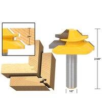 1PC 12 7mm Shank Medium Lock Miter Router Bit 45 Degree Stock Woodworking Milling Cutter Milling