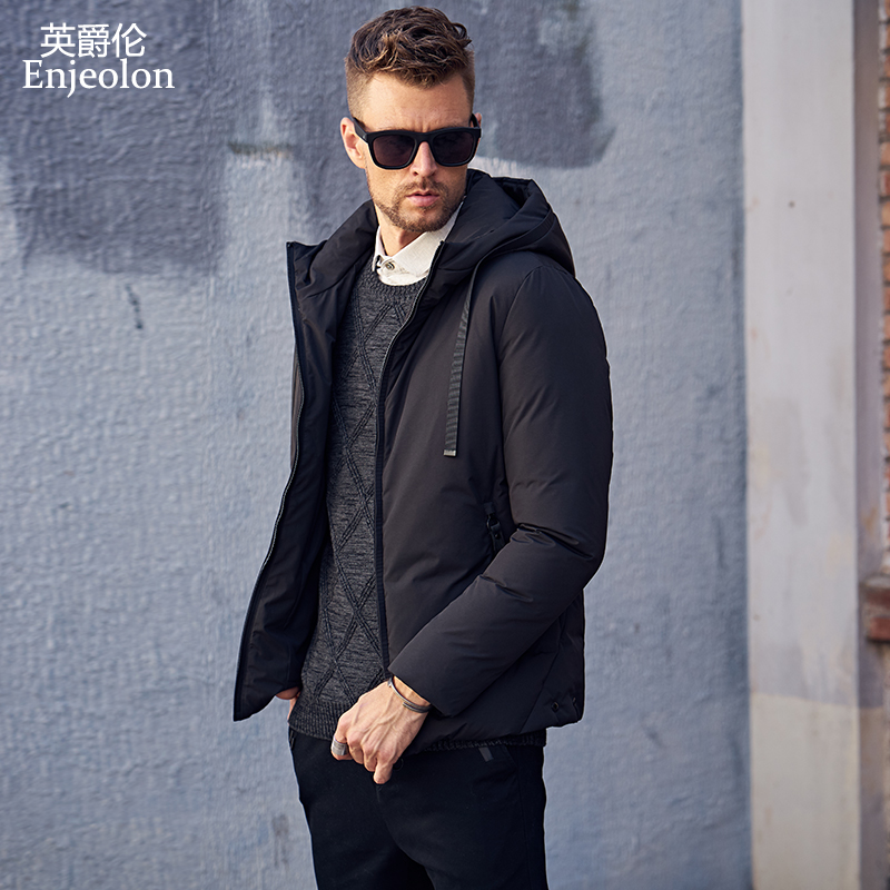 Enjeolon brand fashion thicken winter   down   hooded jacket men light clothing black green   coat   plus size 3XL   down   parka MF0106