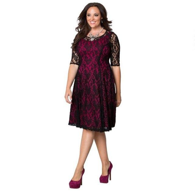 Женское кружевное платье больших размеров 6XL 7XL одежда для женщин новинки лето 2016 8XL 5XL платье с широкой юбкой и элегантным рукавом
