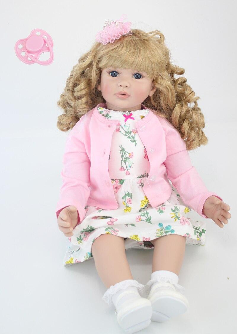 60 см силиконовые виниловые Reborn Baby Doll игрушки 24 дюйма Розовое платье принцессы для маленьких девочек младенцев куклы Детский подарок на день...
