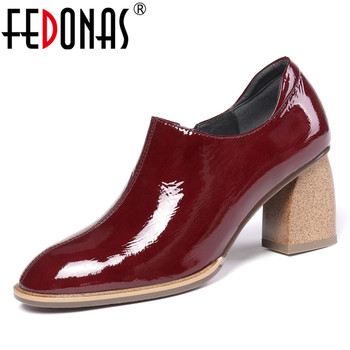 FEDONAS Brand Design Fashion Square Toe Side Zipper Single Shoes Woman Summer Genuine Leather Pumps Party Office Ladies Shoes
