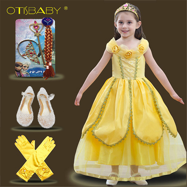 6d06c488c 2018 New Year Beauty and the Beast Belle Fancy Princess Dress Queen Costume  for Girl Kids Yellow Flower Dresses for Party Wear
