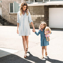 Fall Family matching clothes Women Long Blouse Girl Jeans Dress With Belt Mother and daughter clothes Ropa mae e filha E0229