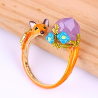 Les Nereides Cute Bud Flower Purple Gem Fox Party Wedding Opening Rings For Women Distinctive Luxury