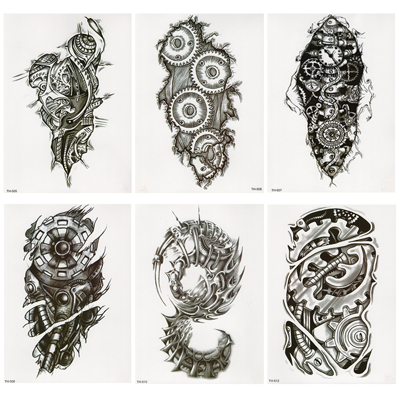 Bionic Mechanical Arm Gear Scorpion Temporary Tattoo Sticker Men Waterproof Tattoos Split Body Art Fashion Fake Black Tatoo