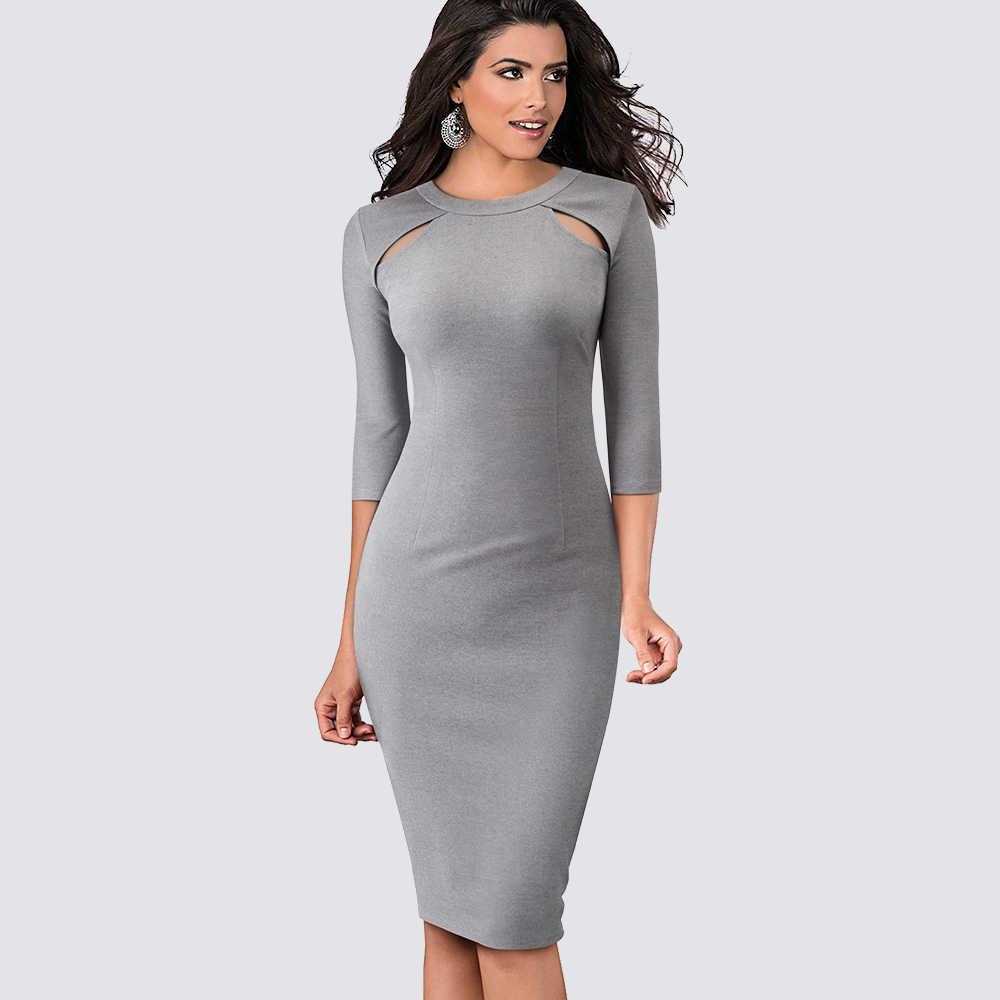 Повседневное облегающее офисное платье для женщин, сексуальное Деловое платье-карандаш с вырезами HB488