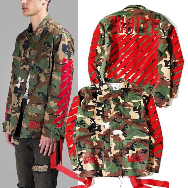a4554fe9a545 2017 new arrive fashion brand men kanye west Off White Virgil Abloh jackets  camouflage red stripe 13 badge windbreaker
