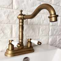 "Antique Brass 4"" Centerset Kitchen Bathroom Vessel Sink Two Holes Basin Swivel Faucet Dual Ceramics Handles Water Tap aan065"