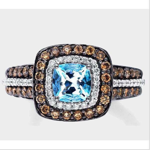 Big Sale 2017 new arrived nice women jewelry,coffee cz big blue stone lady fashion engagement