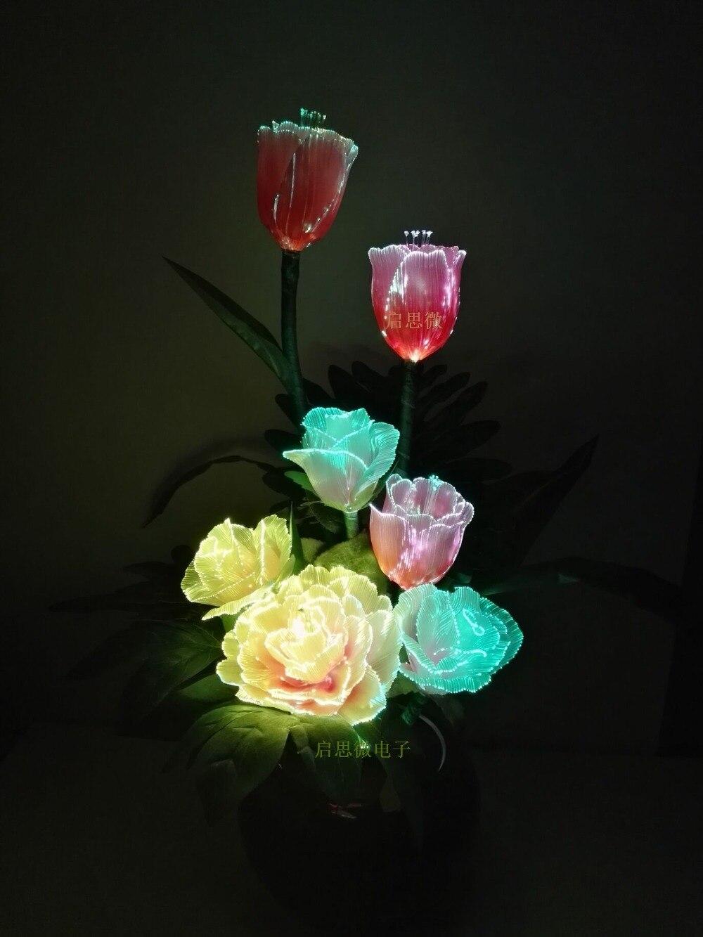 Éclairage fibre optique à LED fleurs artificielles fleur de soie automne européen pivoine vive Rose tulipes fausse feuille lampe à LED créative