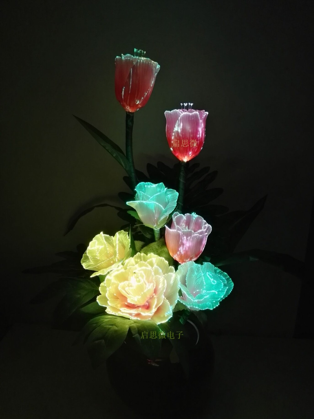Led fiber optic lights Artificial Flowers Silk flower European Fall Vivid Peony Rose Tulips Fake Leaf Creative Led lamp louis garden artificial flowers fake rose in picket fence pot pack small potted plant