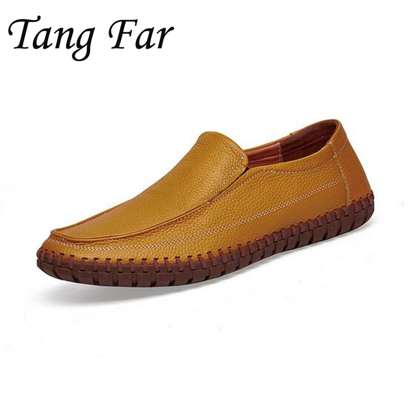 Men Casual Shoes Cow Leather Big Size 39-47 Male Real Genuine Leather Loafers Massage Flats Man Business Shoe top brand high quality genuine leather casual men shoes cow suede comfortable loafers soft breathable shoes men flats warm