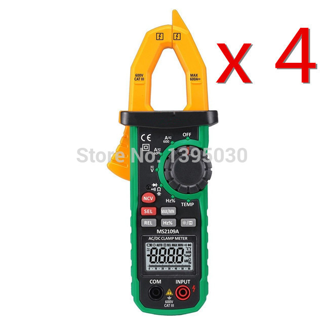 4PCS/Lot MS2109A True RMS Digital AC DC Clamp Meter 600A Ohm HZ Temp NCV RC Test Tester mastech ms2109a auto range digital ac dc clamp meter 600a multimeter volt amp ohm hz temp capacitance tester ncv test