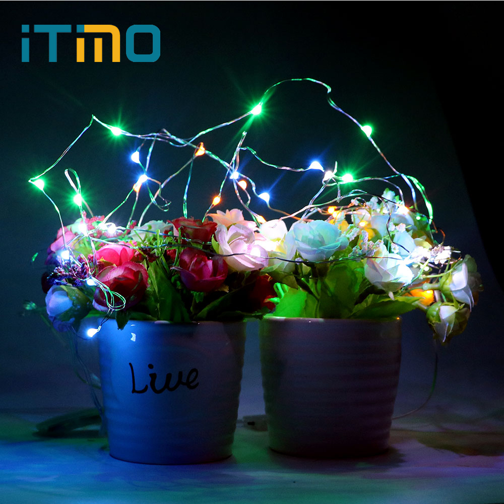 ITimo LED String Light Mini Button Battery Holiday Lighting  10 LEDs Christmas Copper Wire Home Party Decoration Flasher Light