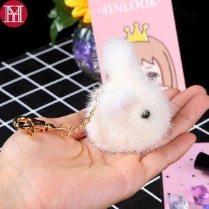 Best Price Trendy Cute Mini 8cm Rabbit Key Ring Handmade Real Mink Fur Keychain Bag Pompom Bag Charm KeyRing Luxury Car Jewelry Pendant — bequmcmvl