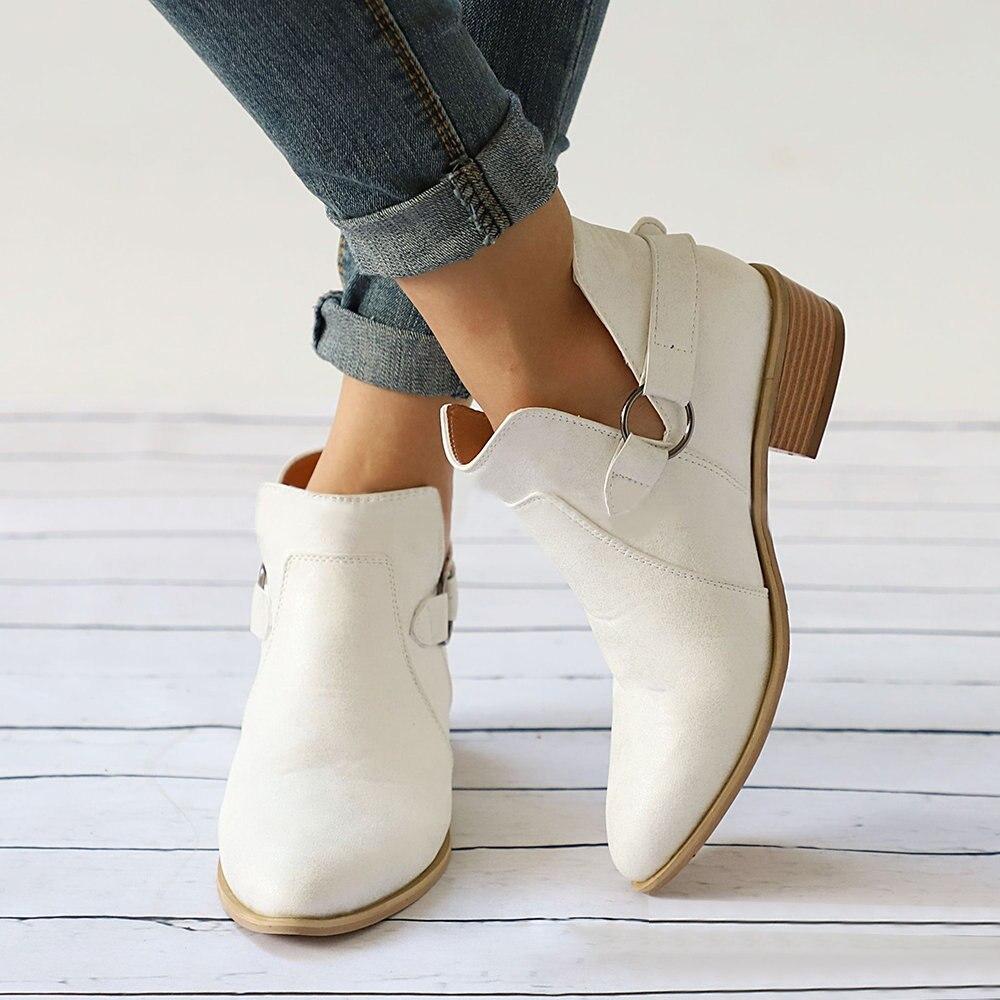 W85 blanc Bottes Noir Automne Cheville Femelle Chaussures Talons La Slip Clog Courte Casual Bas À Plus Coudre Femme Taille Botte Boucle Sur H1gaqn