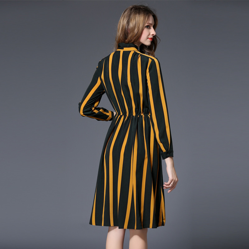 d503a01623f European Wish Spring Clothes Woman Stripe Chiffon Dress Restore Ancient  Ways Lady Of Quality Waist To Show Thin A Word Shirt-in Dresses from Women s  ...