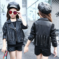Kids Girls Leather Jacket Fashion Kids Faux Leather Coat 2017 Spring Fall Girls Jackets and Coats Black Motorcycle Clothing Top