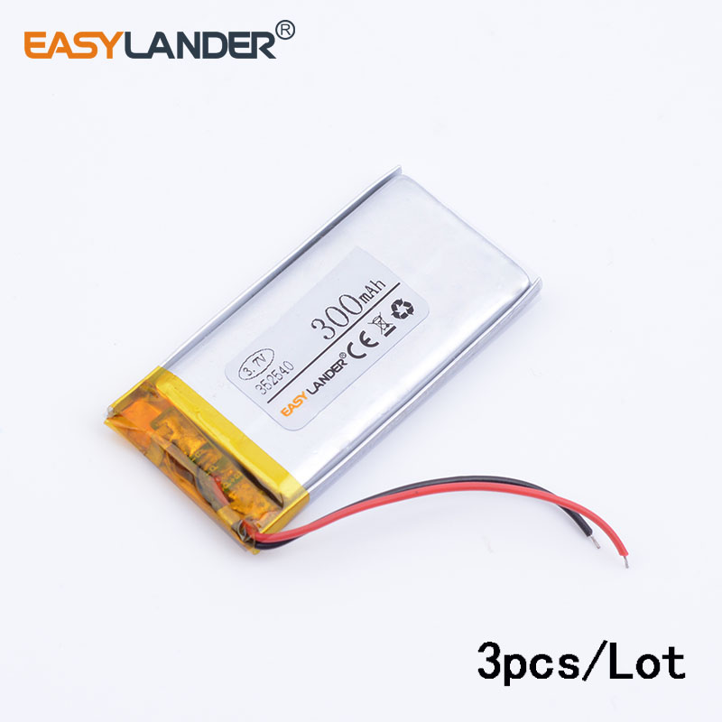 3pcs/Lot 352540 3.7v 300mAh Lithium Polymer Battery Rechargeable Battery Good Quality OEM For GPS Bluetooth Headse MP3 MP4