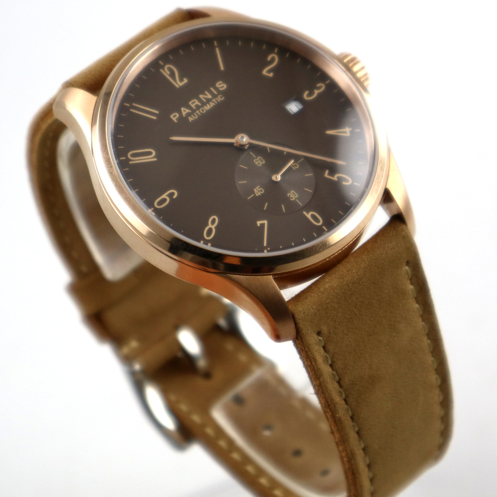 42mm parnis coffee dial rose golden case date automatic movement mens watch цена и фото