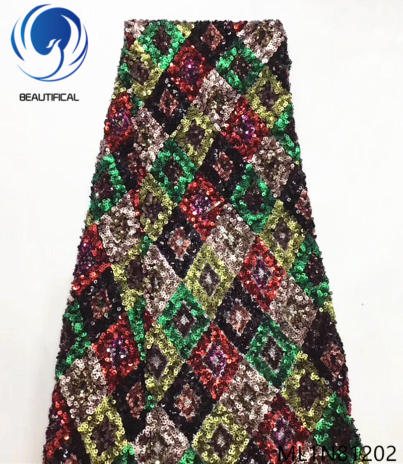 Beautifical nigerian lace fabrics 2019 New design multicolor lace sequins fabric for dress 5yards/lot net lace fabric ML1N812Beautifical nigerian lace fabrics 2019 New design multicolor lace sequins fabric for dress 5yards/lot net lace fabric ML1N812