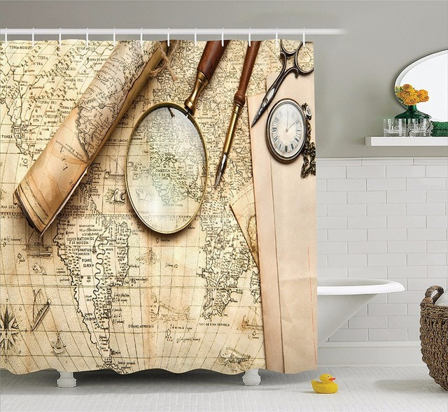 High Quality Arts Shower Curtains Vintage Map Magnifying Glass
